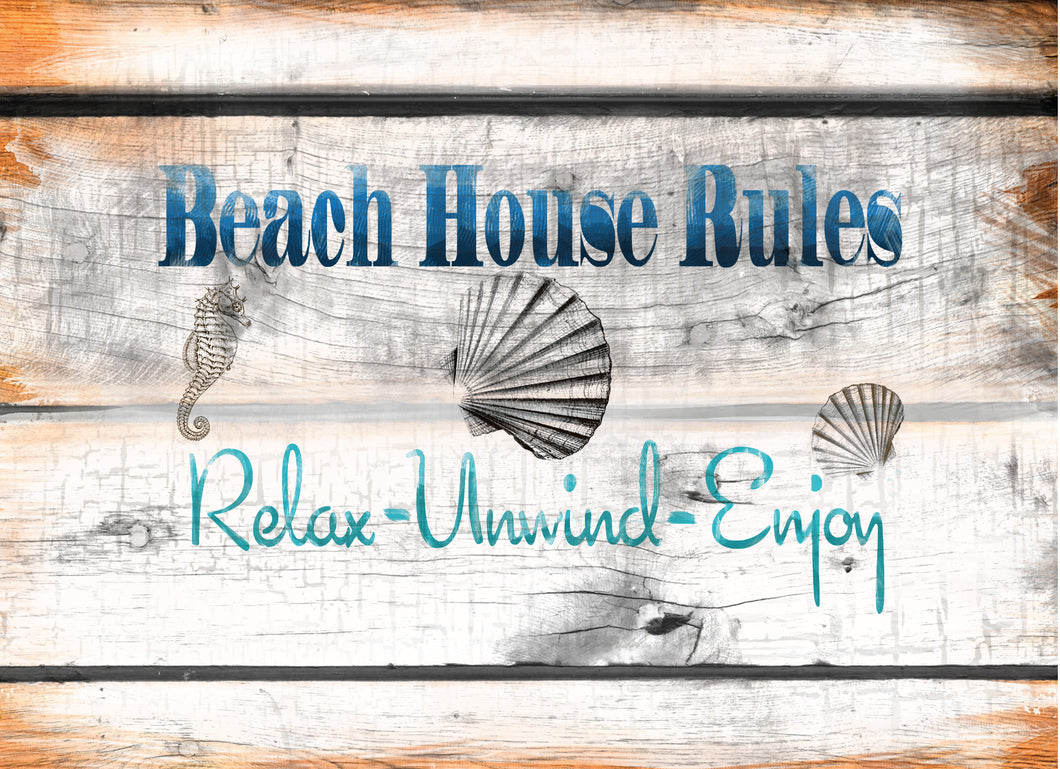 Wood Frames - Beach - Beach House Rules