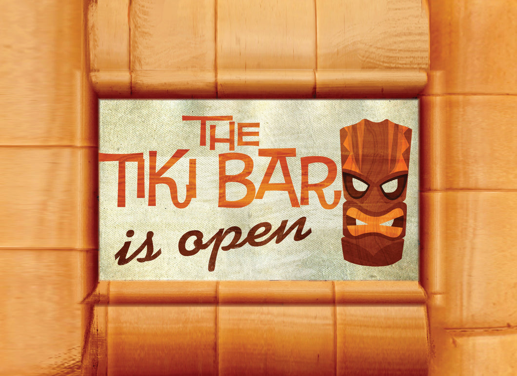 Wood Frames - Beach - Tiki Bar Is Open