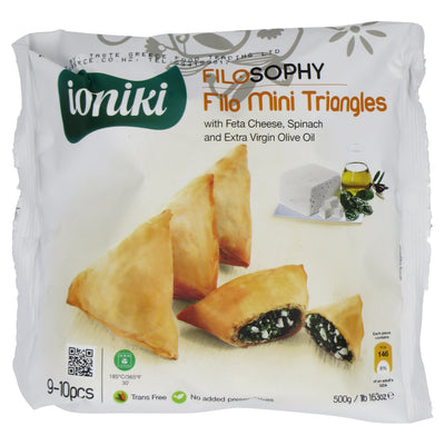 Filo mini triangles with feta, spinach & EVOO 500g