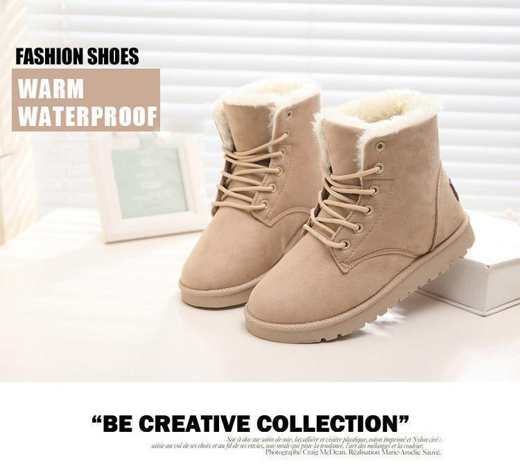 2019 Women Warm Fur Plush Insole Suede Ankle Snow Boots