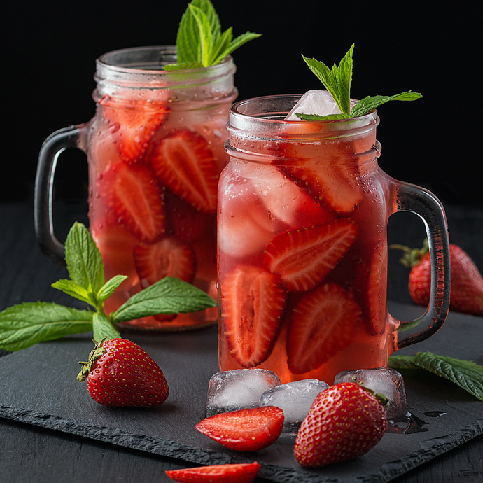 Strawberry Mint Kombucha Refresher