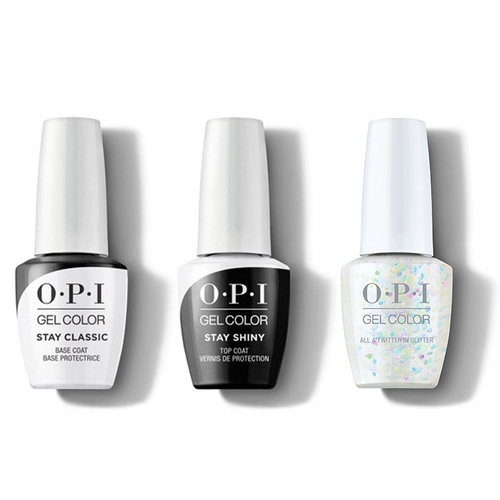 OPI - GelColor Combo - Stay Classic Base, Shiny Top & All A'twitter In Glitter