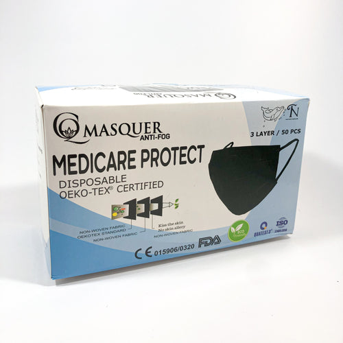 MEDICARE PROTECT Black Disposable Mask - Box of 50