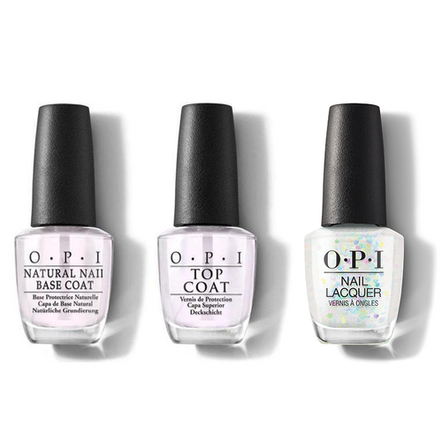 OPI - Nail Lacquer Combo - Base, Top & All A'twitter In Glitter 0.5 oz - #HRM13