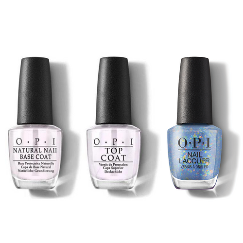 OPI - Nail Lacquer Combo - Base, Top & Bling It On! 0.5 oz - #HRM14