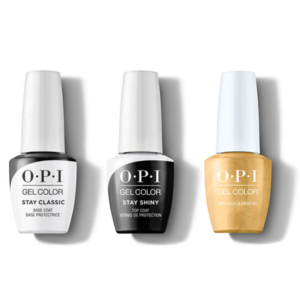 OPI - GelColor Combo - Stay Classic Base, Shiny Top & This Gold Sleighs Me