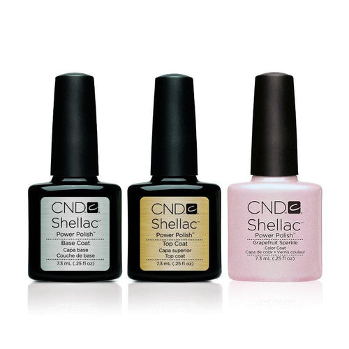 CND - Shellac Combo - Base, Top & Grapefruit Sparkle-Beyond Polish