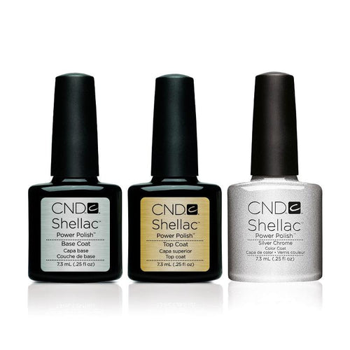 CND - Shellac Combo - Base, Top & Silver Chrome-Beyond Polish