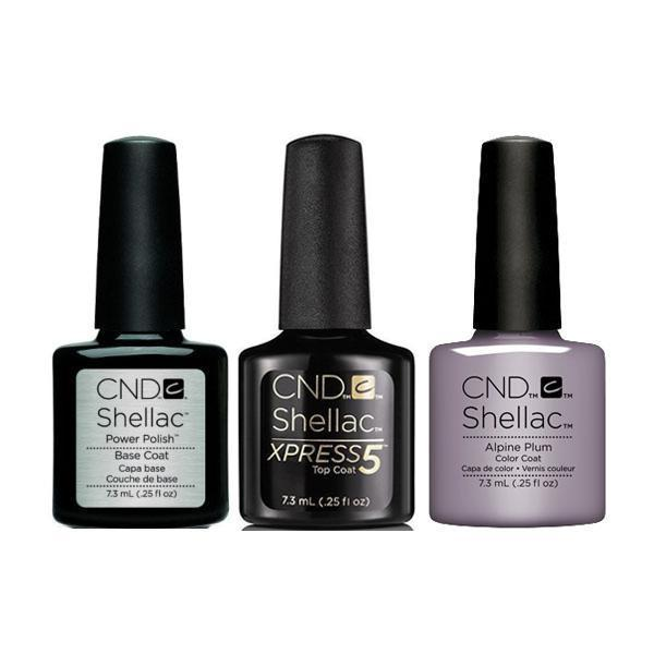 CND - Shellac Xpress5 Combo - Base, Top & Alpine Plum (0.25 oz)-Beyond Polish