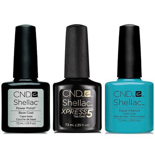 CND - Shellac Xpress5 Combo - Base, Top & Aqua-intance (0.25 oz)-Beyond Polish
