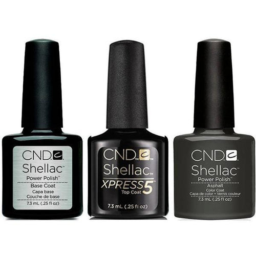 CND - Shellac Xpress5 Combo - Base, Top & Asphalt (0.25 oz)-Beyond Polish