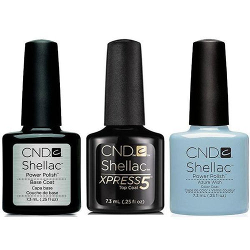 CND - Shellac Xpress5 Combo - Base, Top & Azure Wish (0.25 oz)-Beyond Polish