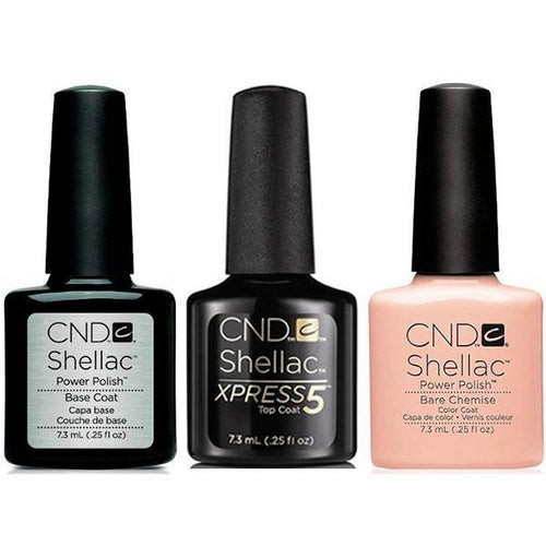CND - Shellac Xpress5 Combo - Base, Top & Bare Chemise (0.25 oz)-Beyond Polish