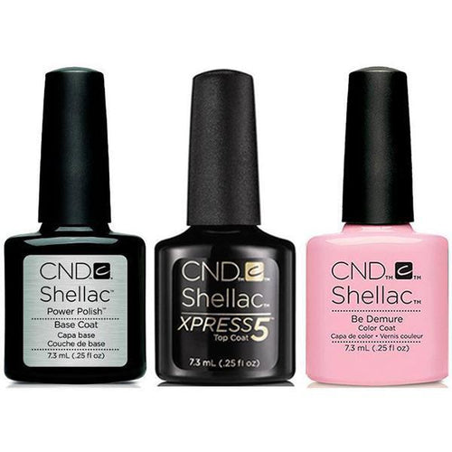 CND - Shellac Xpress5 Combo - Base, Top & Be Demure (0.25 oz)-Beyond Polish