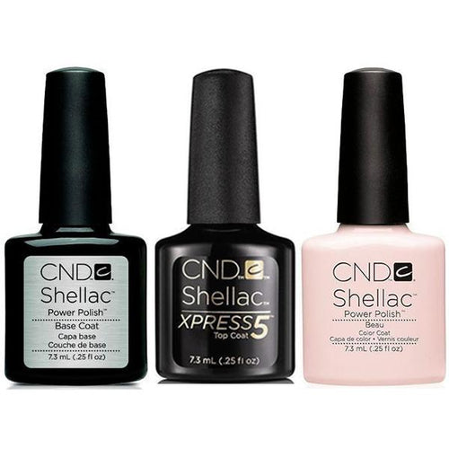 CND - Shellac Xpress5 Combo - Base, Top & Beau (0.25 oz)-Beyond Polish