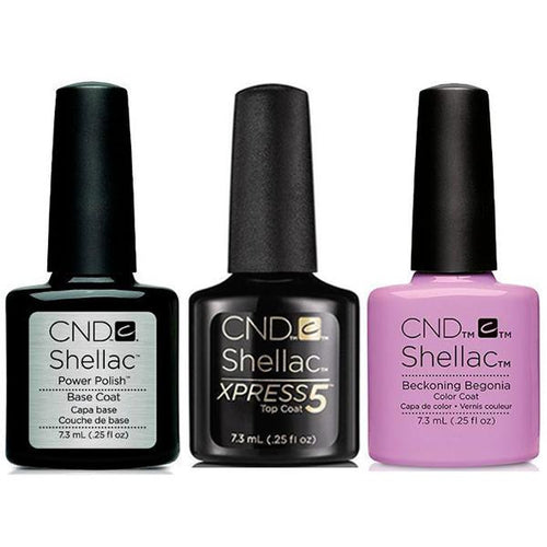 CND - Shellac Xpress5 Combo - Base, Top & Beckoning Begonia (0.25 oz)-Beyond Polish