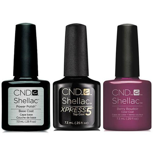CND - Shellac Xpress5 Combo - Base, Top & Berry Boudier (0.25 oz)-Beyond Polish