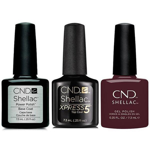 CND - Shellac Xpress5 Combo - Base, Top & Black Cherry (0.25 oz)-Beyond Polish