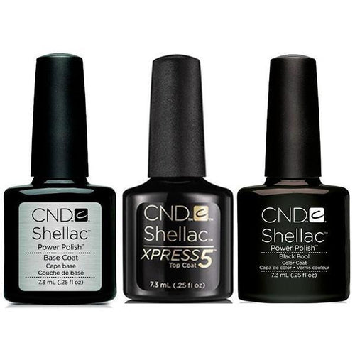 CND - Shellac Xpress5 Combo - Base, Top & Black Pool (0.25 oz)-Beyond Polish