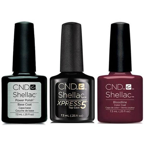 CND - Shellac Xpress5 Combo - Base, Top & Bloodline 0.25 oz-Beyond Polish