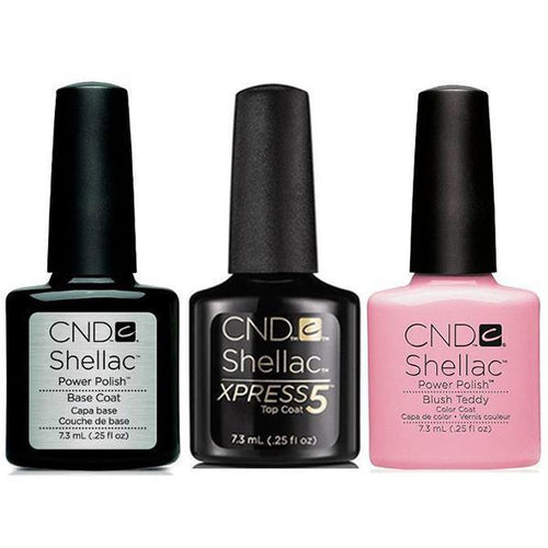 CND - Shellac Xpress5 Combo - Base, Top & Blush Teddy (0.25 oz)-Beyond Polish