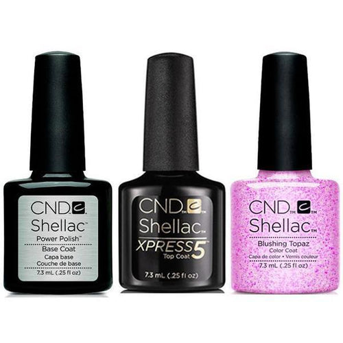 CND - Shellac Xpress5 Combo - Base, Top & Blushing Topaz (0.25 oz)-Beyond Polish