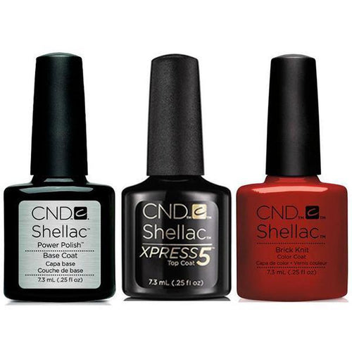 CND - Shellac Xpress5 Combo - Base, Top & Brick Knit (0.25 oz)-Beyond Polish