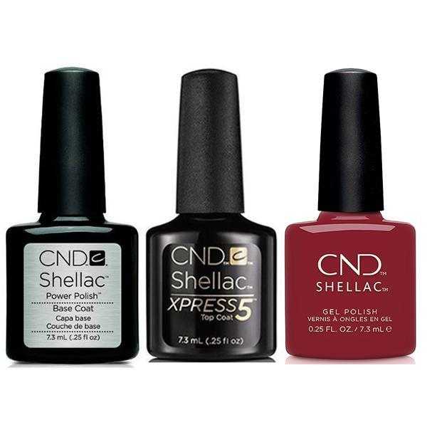 CND - Shellac Xpress5 Combo - Base, Top & Cherry Apple (0.25 oz)-Beyond Polish