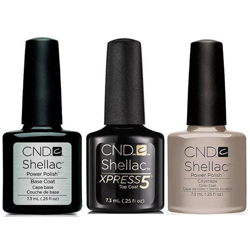 CND - Shellac Xpress5 Combo - Base, Top & Cityscape (0.25 oz)-Beyond Polish