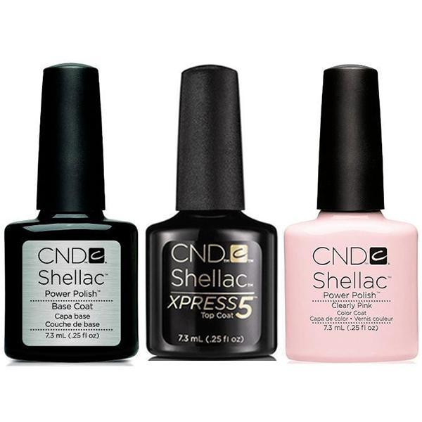 CND - Shellac Xpress5 Combo - Base, Top & Clearly Pink (0.25 oz)-Beyond Polish