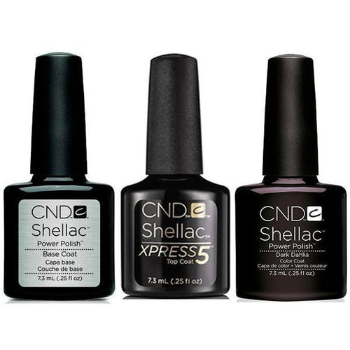 CND - Shellac Xpress5 Combo - Base, Top & Dark Dahlia (0.25 oz)-Beyond Polish