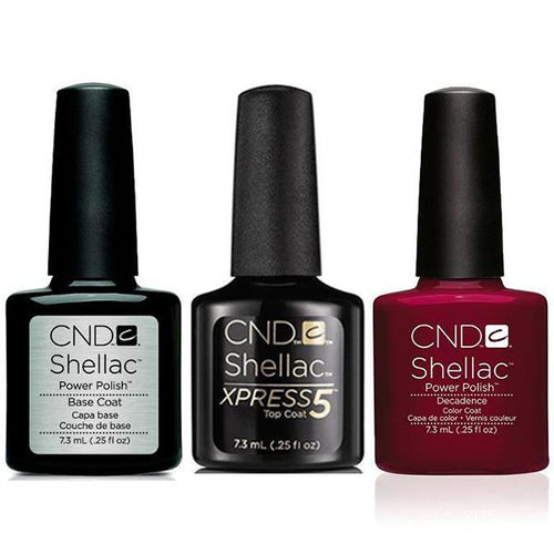 CND - Shellac Xpress5 Combo - Base, Top & Decadence (0.25 oz)-Beyond Polish