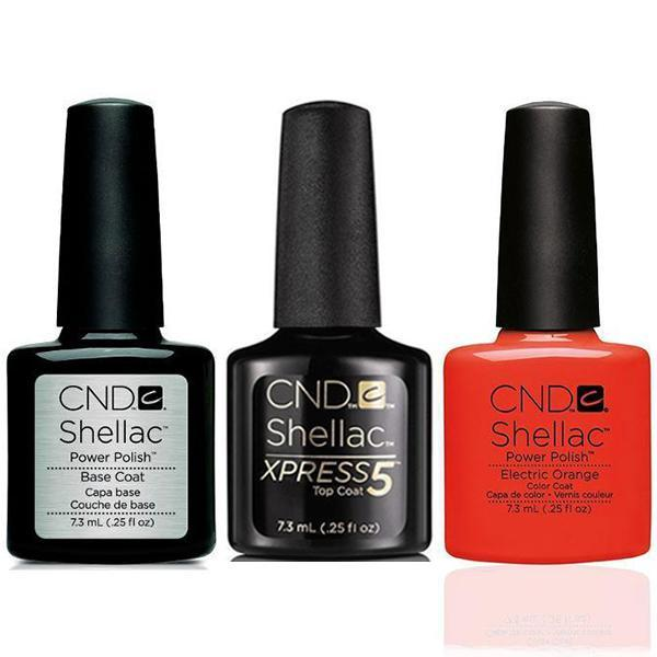 CND - Shellac Xpress5 Combo - Base, Top & Electric Orange (0.25 oz)-Beyond Polish