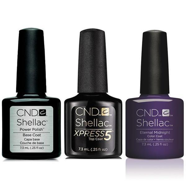 CND - Shellac Xpress5 Combo - Base, Top & Eternal Midnight (0.25 oz)-Beyond Polish
