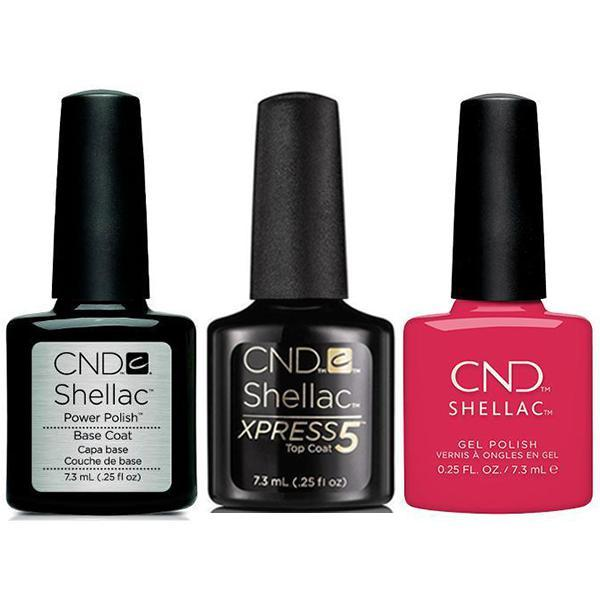 CND - Shellac Xpress5 Combo - Base, Top & Femme Fatale (0.25 oz)-Beyond Polish