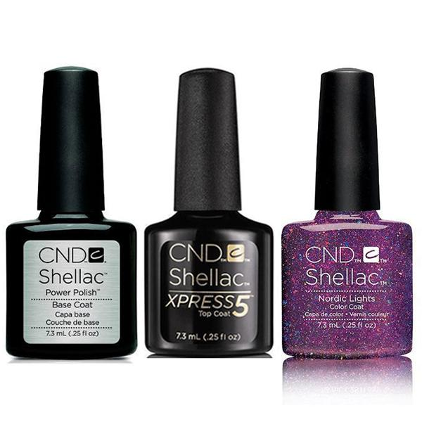 CND - Shellac Xpress5 Combo - Base, Top & Nordic Lights (0.25 oz)-Beyond Polish