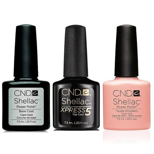 CND - Shellac Xpress5 Combo - Base, Top & Nude Knickers (0.25 oz)-Beyond Polish