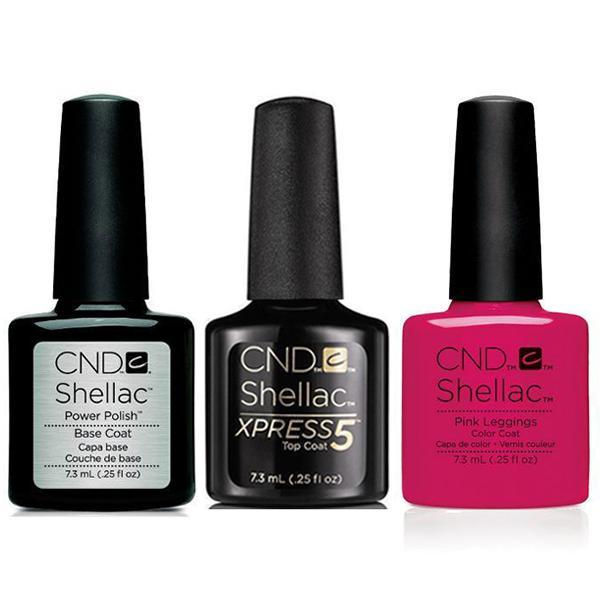 CND - Shellac Xpress5 Combo - Base, Top & Pink Leggings (0.25 oz)-Beyond Polish