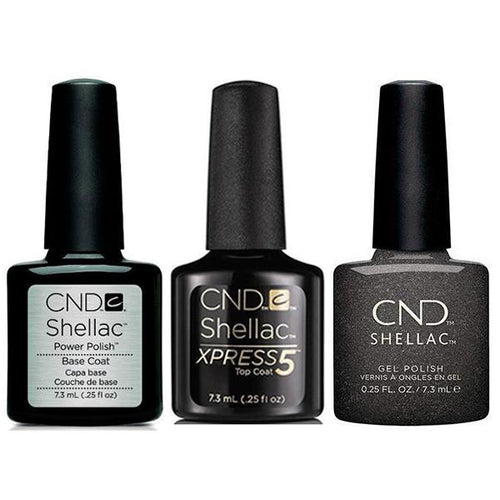 CND - Shellac Xpress5 Combo - Base, Top & Powerful Hematite (0.25 oz)-Beyond Polish