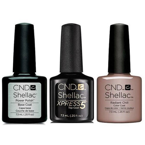CND - Shellac Xpress5 Combo - Base, Top & Radiant Chill (0.25 oz)-Beyond Polish