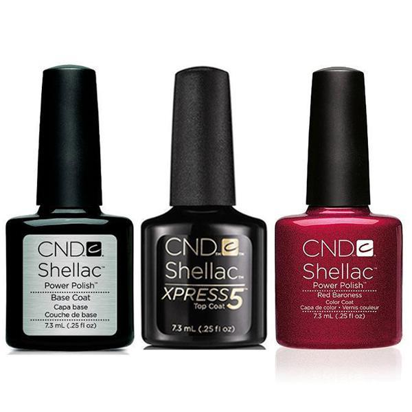 CND - Shellac Xpress5 Combo - Base, Top & Red Baroness (0.25 oz)-Beyond Polish