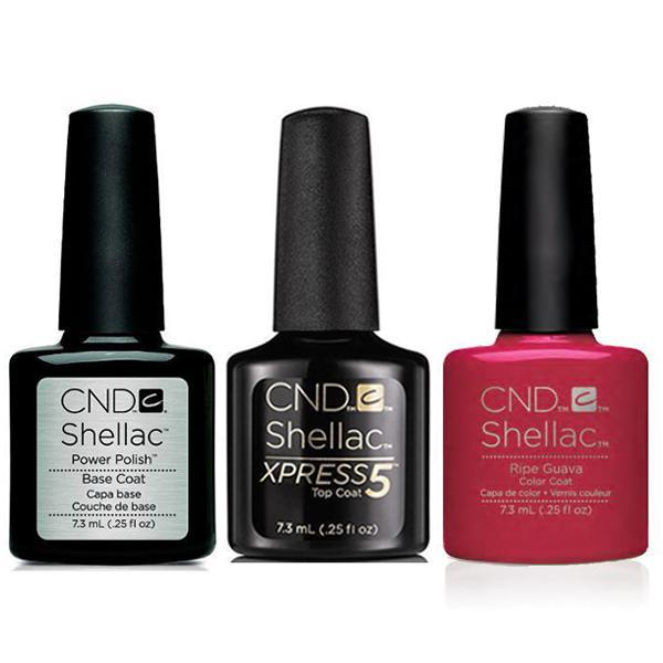CND - Shellac Xpress5 Combo - Base, Top & Ripe Guava (0.25 oz)-Beyond Polish