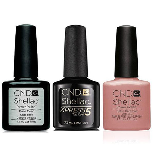 CND - Shellac Xpress5 Combo - Base, Top & Satin Pajamas (0.25 oz)-Beyond Polish
