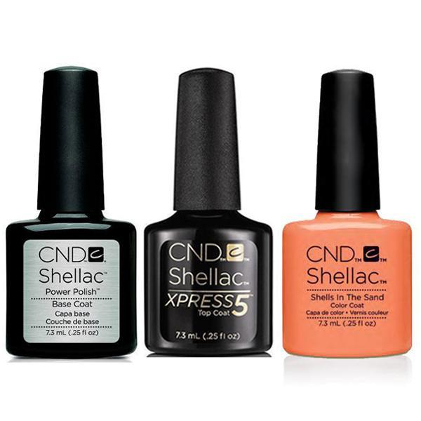 CND - Shellac Xpress5 Combo - Base, Top & Shells In The Sand (0.25 oz)-Beyond Polish