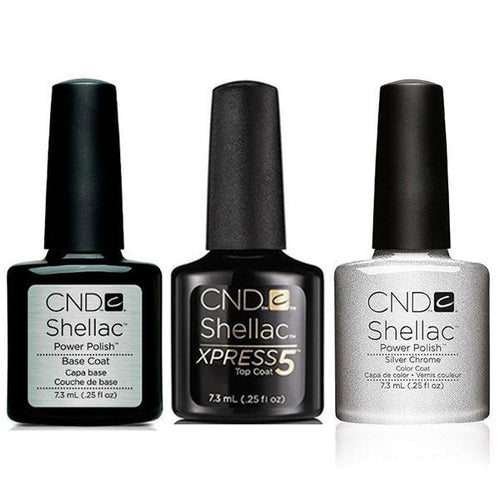 CND - Shellac Xpress5 Combo - Base, Top & Silver Chrome (0.25 oz)-Beyond Polish