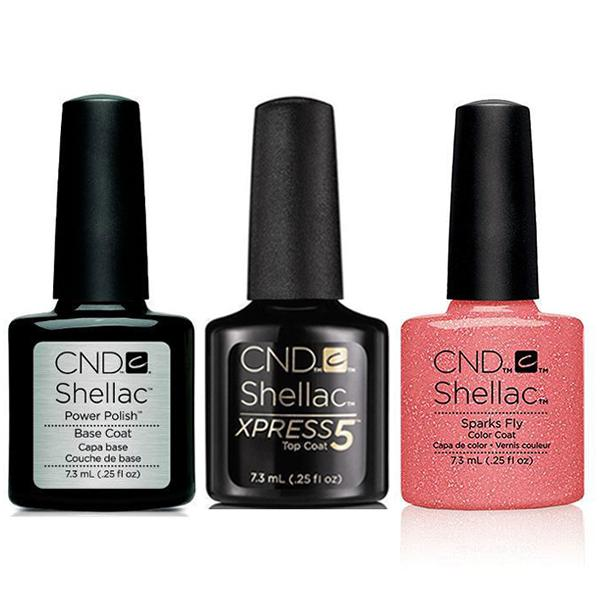 CND - Shellac Xpress5 Combo - Base, Top & Sparks Fly (0.25 oz)-Beyond Polish