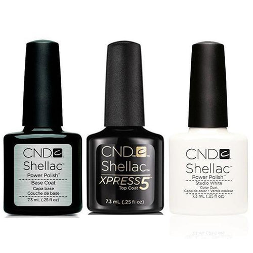 CND - Shellac Xpress5 Combo - Base, Top & Studio White (0.25 oz)-Beyond Polish