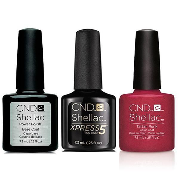 CND - Shellac Xpress5 Combo - Base, Top & Tartan Punk (0.25 oz)-Beyond Polish