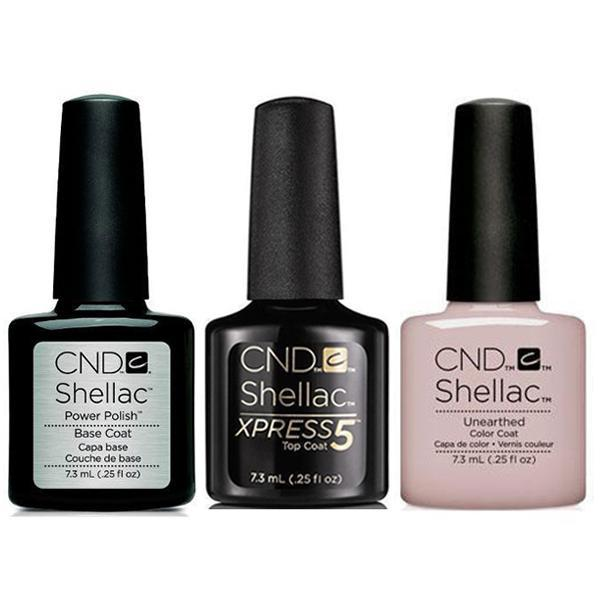 CND - Shellac Xpress5 Combo - Base, Top & Unearthed 0.25 oz-Beyond Polish