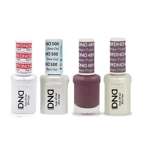 DND - #500#600 Base, Top, Gel & Lacquer Combo - Antique Purple - #489-Beyond Polish